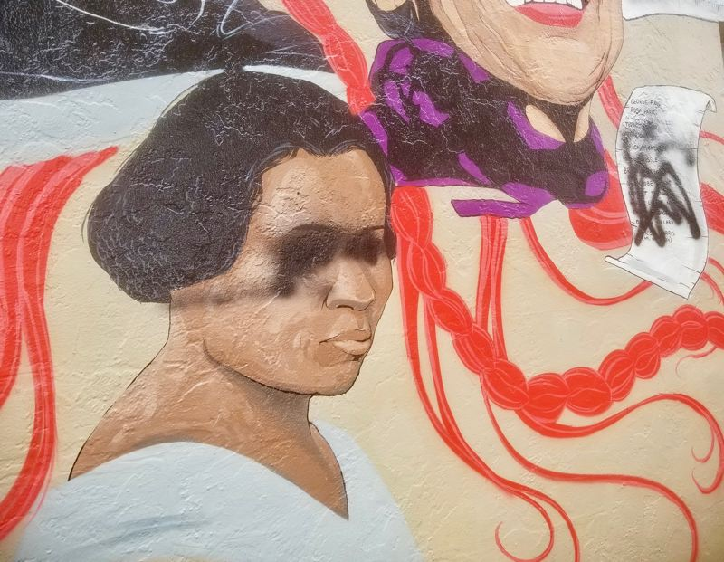 PMG PHOTO: CHRISTOPHER KEIZUR - A mural in downtown Gresham celebrating Black leaders was defaced with graffiti.