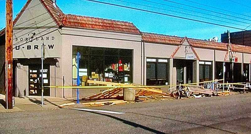 COURTESY KGW NEWSCHANNEL 8 - Officials say the distracted driver who smashed into Unicorn Brewings street seating area was lucky not to have been seriously injured - because two lengths of the wooden beams had crashed through her windshield.