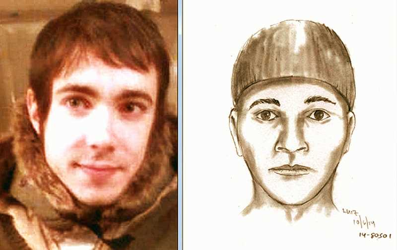 CONTRIBUTED PHOTOS - Youve seen these pictures before in THE BEE.  At left is a family-provided photo of the robbery and murder victim, Michael William Olson; at right is a police sketch of the suspect, developed from witness descriptions. The family and the police hope you can help solve this homicide.