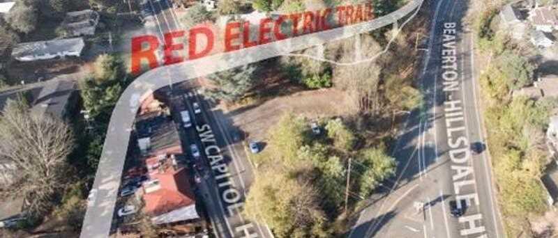 PORTLAND BUREAU OF TRANSPORTATION RENDERING - A map shows the planned path of the Red Electric Bridge in Southwest Portland between Southwest Capitol Highway and Beaverton-Hillsdale Highway.
