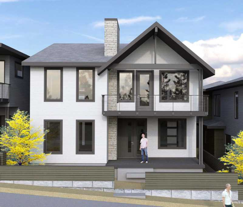 RENDERING COURTESY OF WINTERBROOK PLANNING - A rendering shows a prototype of one of the home model types that could be available if the city approves a new 25-home housing development in Southwest Portlands Multnomah neighborhood.