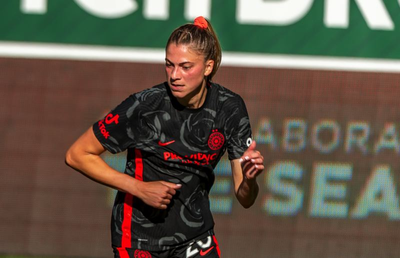 PMG PHOTO: DIEGO G. DIAZ - Kelli Hubly worked her way up from practice player and now sees regular action in the middle of the Portland Thorns' defense.