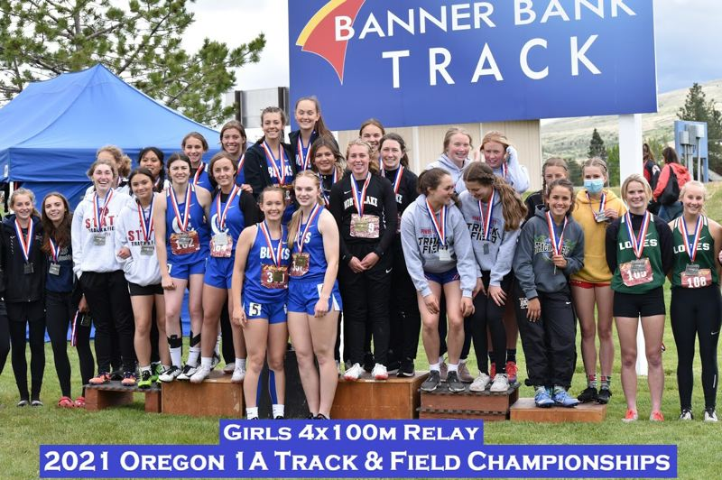 COURTESY PHOTO: ST. PAUL TRACK AND FIELD - The St. Paul girls relay teams of Stella Koch, Gracie Koch, Mary Davidson and Helsie Hempfling took home state titles in both the 4x100 and 4x400 events.