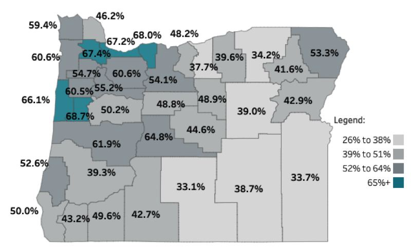 COURTESY OHA - Current county vaccination rates for those 16 and older.