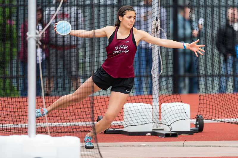PMG FILE PHOTO - Glencoe's Jayda Lee won the Discus and Shot Put events, while placing second in the High Jump at the 6A State Track & Field Showcase Event earlier this month.