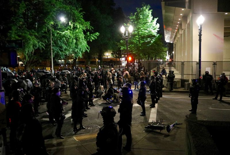 PMG PHOTO: ZANE SPARLING - Portland Police declared a riot on the anniversary of the death of George Floyd on Tuesday, May 25.