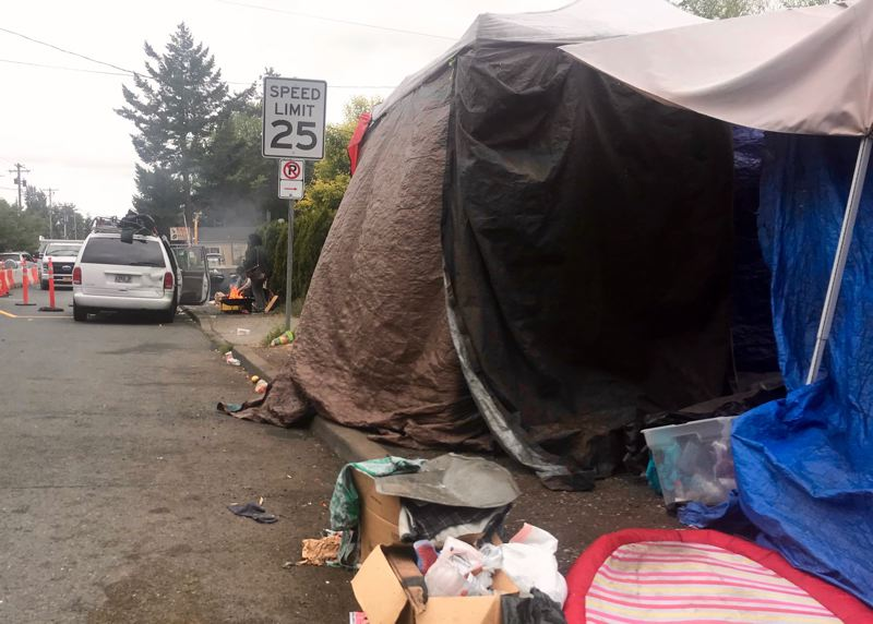 PMG PHOTO: ZANE SPARLING - A homeless camp along Northeast Prescott Street at 60th Avenue has been swept several times, and now persists in smaller form.