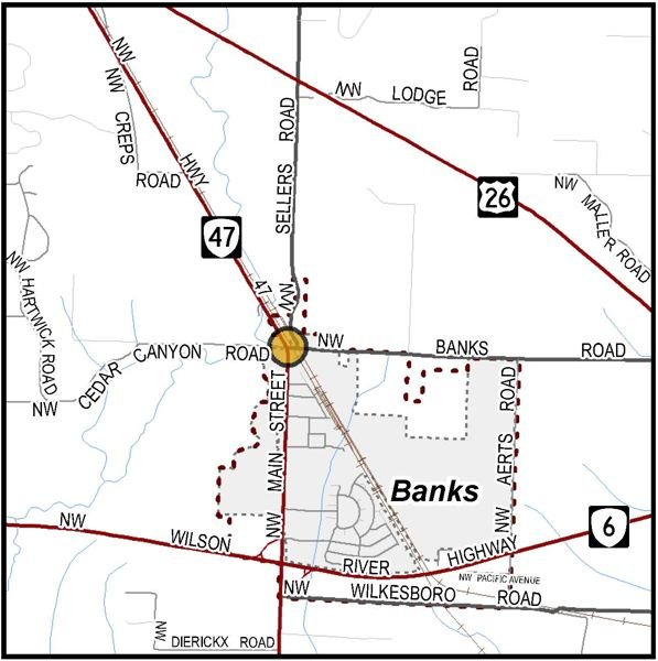 COURTESY MAP: WASHINGTON COUNTY - A map shows the intersection of Northwest Banks Road, Northwest Cedar Canyon Road and Northwest Main Street in Banks, which is slated for a traffic redesign.