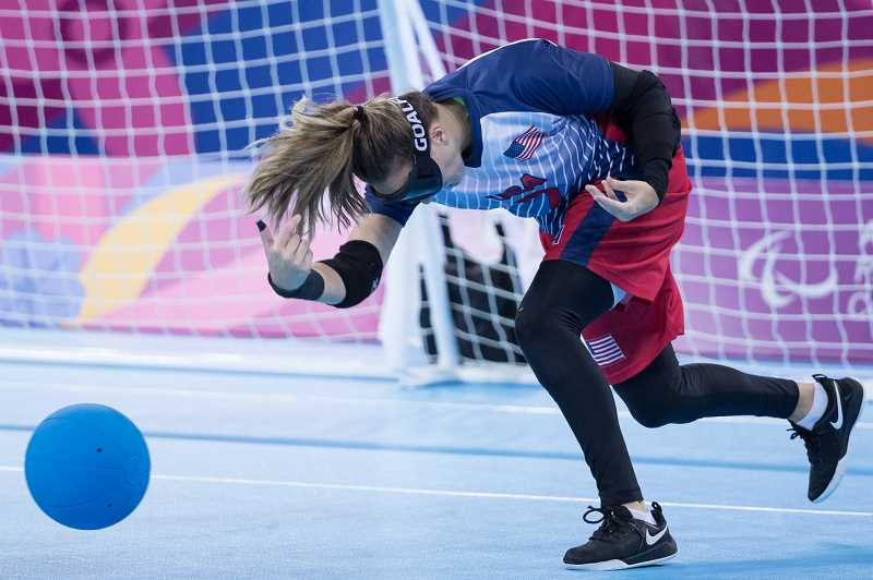 COURTESY PHOTO: MICHAEL CLUBINE/WHEELCHAIR SPORTS USA - Goalball has become the premier team sport for blind athletes and is played competitively in 112 countries, according to the United States Association of Blind Athletes.