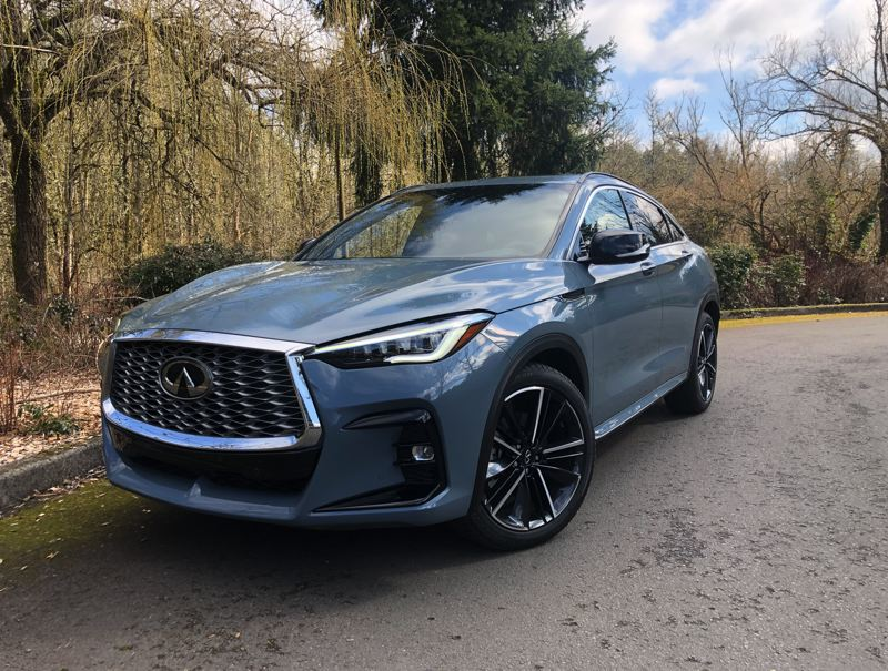 PMG PHOTO: JEFF ZURSCHMEIDE - With its bold grill, low air dam and fastback styling, the 2022 Infiniti QX55 looks as good as it drives.