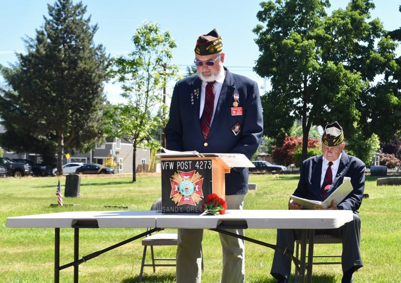 PMG PHOTO: BRITTANY ALLEN - Dennis Pratt, senior vice commander of the Oregon department of the VFW, acted as guest speaker for the Sandy Memorial Day event at Fir Hill Cemetery on May 31.