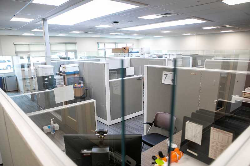 PMG PHOTO: JAIME VALDEZ - Heres what desks and cubicles for building inspectors and other staff look like in the new Tualatin City Services building.