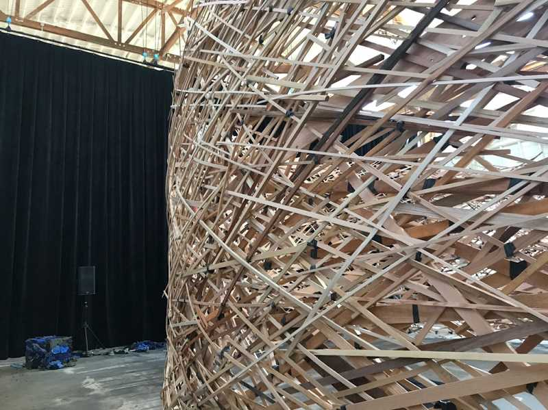 COURTESY PHOTO: DANA LYNN LOUIS - AUXART is a sound and wood installation at the newly opened Building 5 space in northwest Portland, through June 13, 2021.
