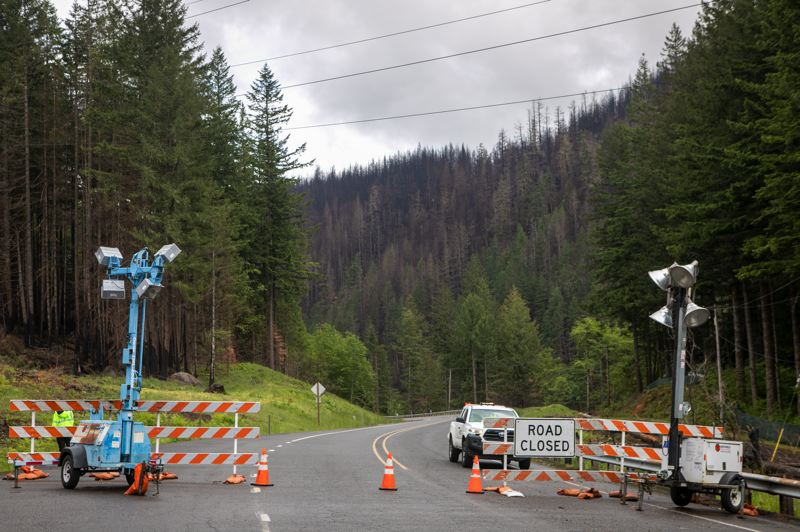 PMG PHOTO: JAIME VALDEZ  - The entrance to the Mt. Hood National Forest on Highway 224 remains closed to the public in the aftermath of the Riverside Fire.