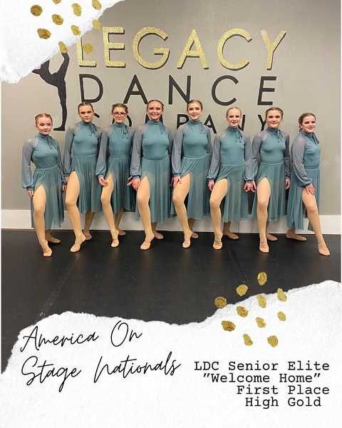 """PHOTO SUBMITTED BY LEGACY DANCE COMPANY  - The Legacy Dance Company coaches and their Elite program dance team went to a national competition, the """"America On Stage Nationals"""" in Utah in May to compete in a total of 21 routines. The team came home with many trophies, including 18 first-place finishes, three second-place finishes, two girls who made the Junior All-American Team and two girls who made the All-American Team. In addition, there were five first-place High Gold standings."""