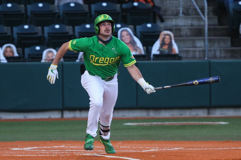 COURTESY PHOTO: ERIC EVANS/GODUCKS.COM - Westview High grad Kenyon Yovan has been one of the standouts for the Oregon Ducks, who have enjoyed a fine season, so far. Primarily a designated hitter, Yovan led the team in home runs.