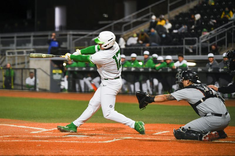 COURTESY PHOTO: ERIC EVANS/GODUCKS.COM - South Salem product Gabe Matthews has set the Oregon baseball all-time records for hits and RBIs and more as one of the pillars of the Ducks' strong team.