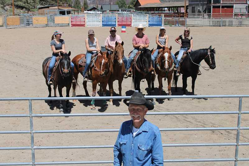 PAT KRUIS/MADRAS PIONEER  - Claude Rickman considers the canyons and rimrock at Crooked River Ranch the perfect Western backdrop for a rodeo. He expects to make Buckin' in the Canyon an annual event every first weekend in June.