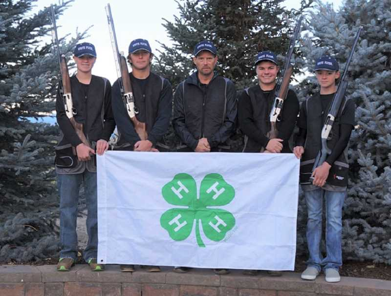 COURTESY PHOTO  - All four Oregon 4-H state shotgun champs for 2020 are from Jefferson County. After a year-long delay due to COVID, Logan Lee, Seth Colton, Coach Kevin Tollefson, Carson King and James Lange will travel to Nebraska in June to compete nationally.