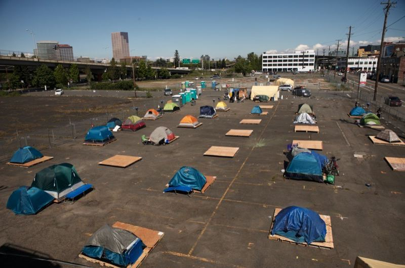 PMG FILE PHOTO - One of the three city-funded managed homeless camps in Portland.