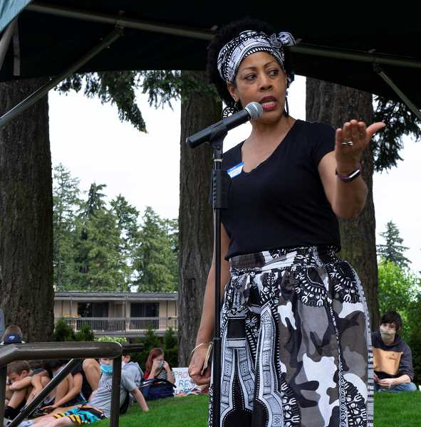 PMG PHOTO: CLARA HOWELL - Portland State University Professor Shirley Jackson speaks during the event., Lake Oswego Review - News Community members gathered June 19 to hear speakers, commemorate the day slavery ended Respond to Racism hosts Juneteenth event at Millennium Plaza Park