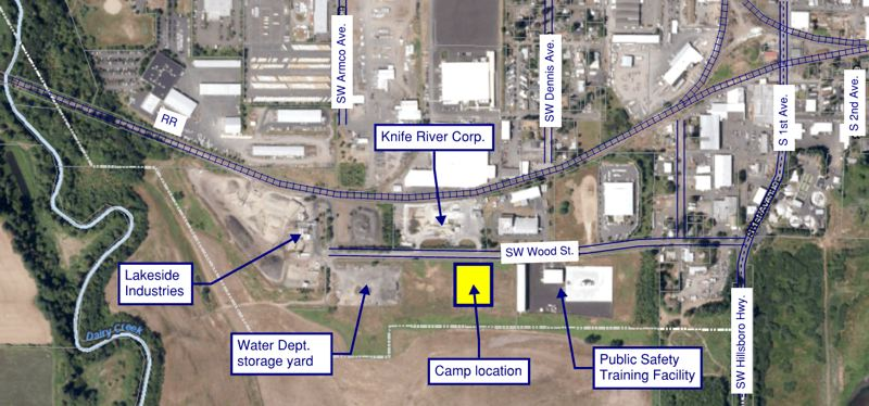 COURTESY MAP: CITY OF HILLSBORO  - A map shows the location of a new managed camp for homeless people on Hillsboro-owned property along Southwest Wood Street. Some surrounding business and property owners have voiced opposition to the location.