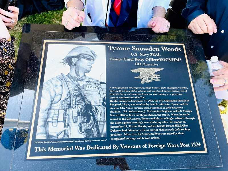 COURTESY PHOTO - Tyrone S. Woods Memorial Park has a stone memorial built and maintained through funds raised by the VFW chapter based in Oregon City.