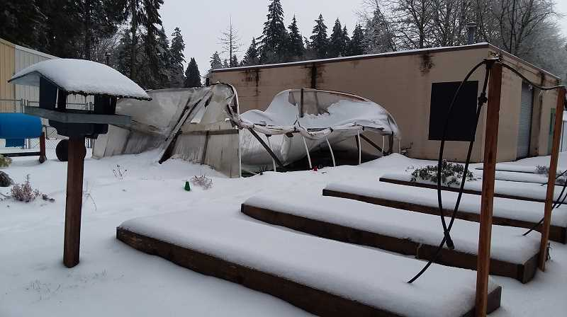 SUBMITTED PHOTO: SAUVIE ISLAND SCHOOL - Mother nature was just too much for the greenhouse at Sauvie Island School