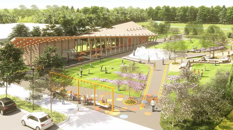 COURTESY PHOTO: CITY OF TIGARD - A birds-eye view shows what the canopy, part of Phase 2 of Tigards Universal Plaza, will look like.