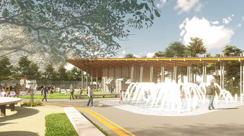 COURTESY PHOTO: CITY OF TIGARD - A water feature/splash pad will be one of main features of Phase 1 in Universal Plaza.