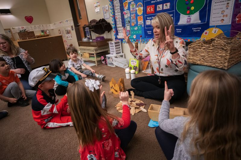 PMG FILE PHOTO - Susie Coffman tells a story from the Bible during the Pre-K class at Christ Church Preschool in February 2020.