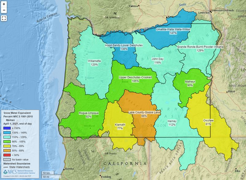 """COURTESY IMAGES: THE NATURAL RESOURCES CONSERVATION SERVICE.C - The maps above show the """"snow water equivalent"""" rankings for much of Oregon  and nearby regions in 2020 and 2021."""