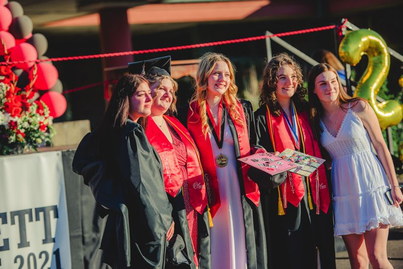 COURTESY PHOTOS: KAREN J HAWLEY PHOTOGRAPHY - Graduating Corbett High seniors got to walk across the stage and receive their diplomas before celebrating parents, friends and loved ones.