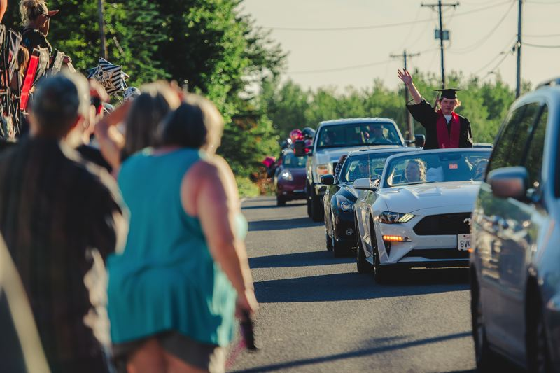 COURTESY PHOTOS: KAREN J HAWLEY PHOTOGRAPHY - For the second year, Corbett had a parade of graduates along the Historic Columbia River Highway.