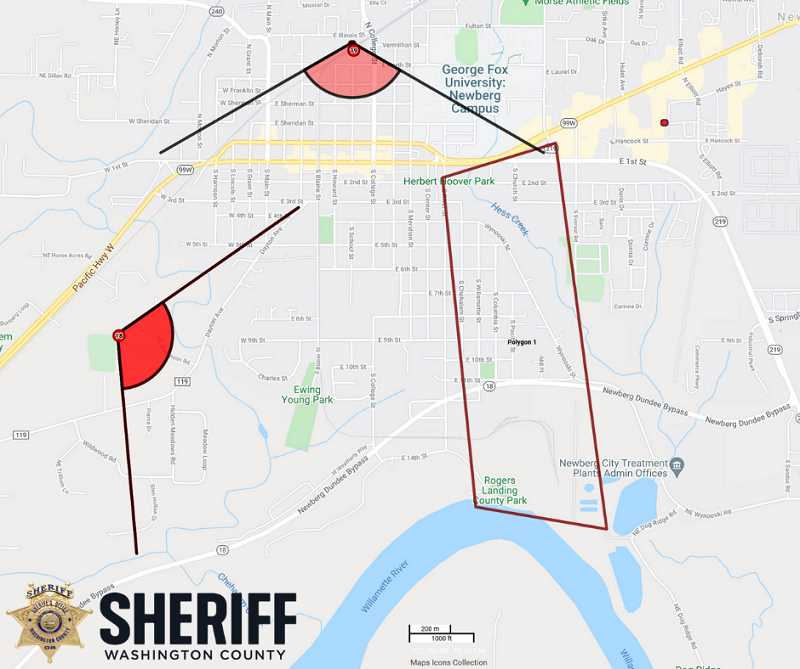 COURTESY PHOTO - The search area in Newberg constructed by police based off of Ralph Brown's last known whereabouts.