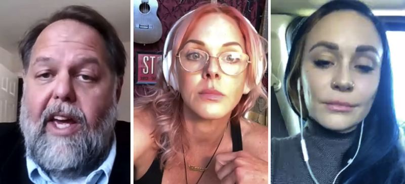 SCREENSHOTS - FROM LEFT: Speakers at a decriminalization of sex worker press conference included Ted Blaszak, Storm Large and Elle Stanger.