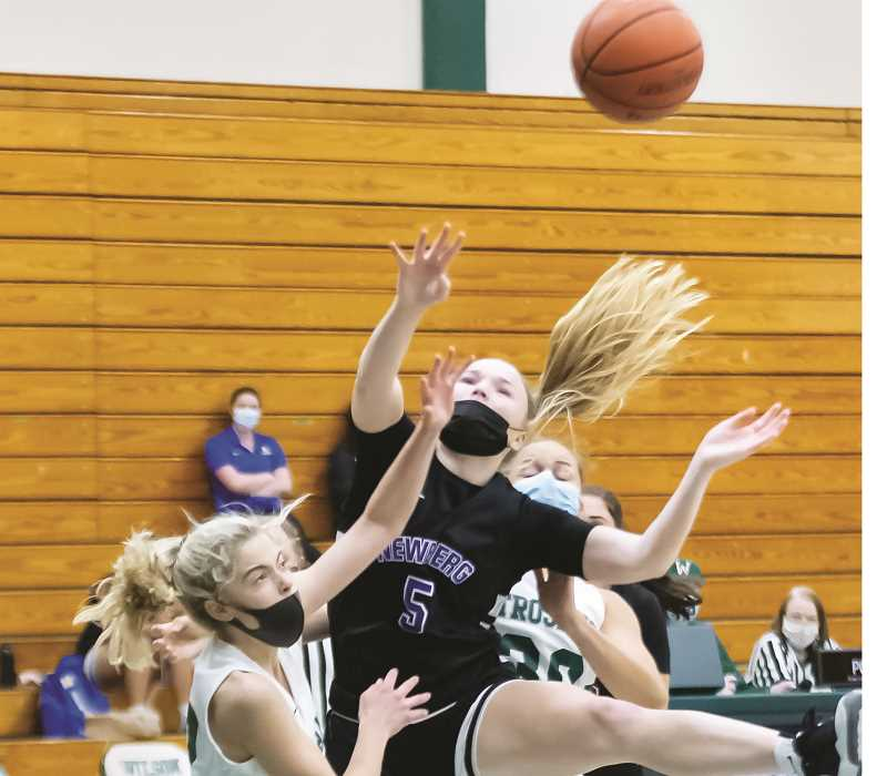 COURTESY PHOTO: JODI STILP - After a solid start to their shortened 2021 campaign, NHS girls basketball (3-5, 3-4 Pacific Conference) is on a three-game losing streak including two league and one nonleague loss.