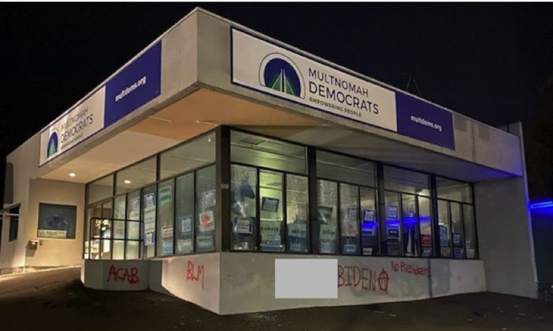 COURTESY PHOTO: KOIN 6 NEWS - The Multnomah County Democrats' headquarters in Northeast Portland was vandalized on Nov. 8, 2020.