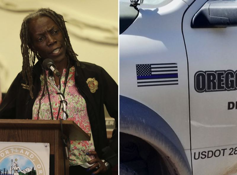 PMG FILE PHOTO  - Portland City Commissioner Jo Ann Hardesty denounced Oregon Concrete Solutions for displaying a pro-police emblem while working on the city's dime last month.