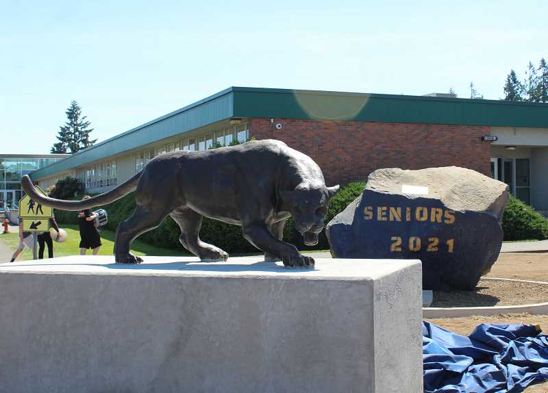 PMG PHOTO: KRISTEN WOHLERS - The new cougar statue is located in the developing senior park area at Canby High School, accompanied by the senior rock that initially was dedicated to the class of 2020.
