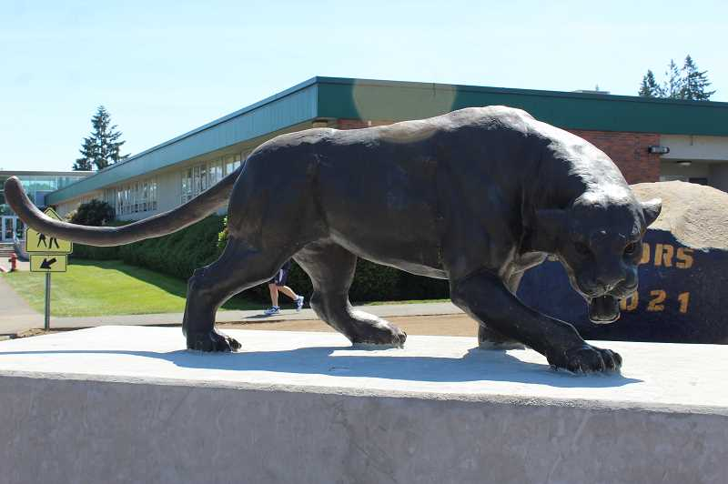 PMG PHOTO: KRISTEN WOHLERS - All Classics Limited out of Delaware created the mascot, which is displayed on a large concrete pedestal at Canby High School.
