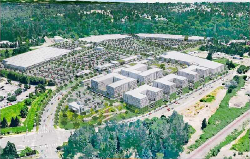 COURTESY RENDERING: LRS ARCHITECTS - An aerial view of the North End proposal shows Washington Street in the foreground and the current Home Depot parking lot on the left.