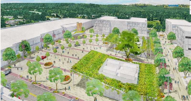 COURTESY RENDERING: LRS ARCHITECTS - Summit Development's proposal in Oregon City includes a large public square on the former Rossman Landfill.