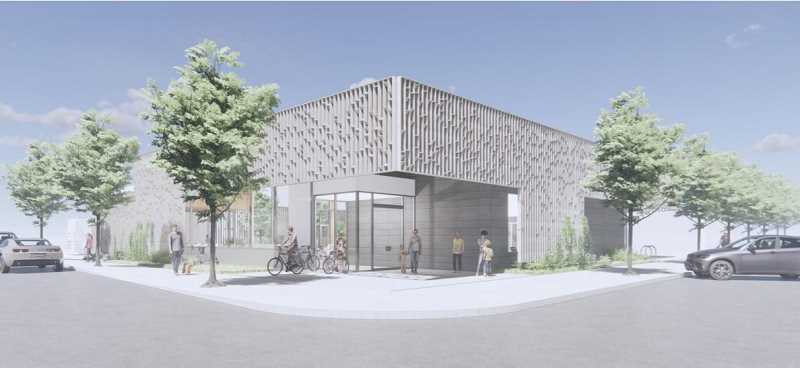 COURTESY RENDERING: CLACKAMAS COUNTY - Architectural renderings for Gladstone's new library seen as 'institutional' will be softened as designs are refined.