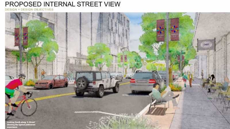COURTESY RENDERING: LRS ARCHITECTS - A proposed Market Street would seek to mimic the vibancy of downtown Oregon City.