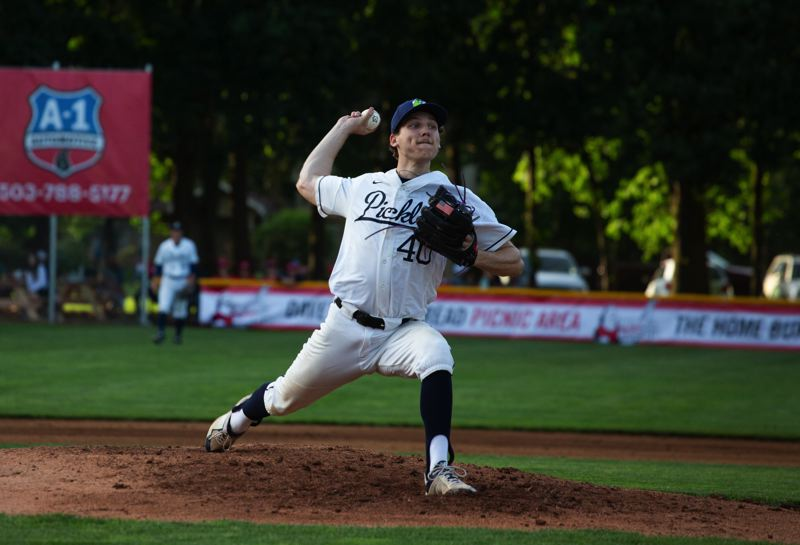 PMG PHOTO: ADAM WICKHAM - Starting pitcher Alex Giroux, a Lake Oswego High grad now at the University of San Diego, pitched four strong innings Friday, June 4, at Walker Stadium as the Portland Pickles won their West Coast League opener 6-0 over Wenatchee.