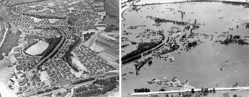 CITY OF VANPORT AERIAL VIEW, BEFORE AND AFTER THE FLOOD ON MAY 30, 1948 (CITY OF PORTLANDCOURTESY CITY OF PORTLAND. - City of Vanport aerial view, before and after the flood on May 30, 1948.