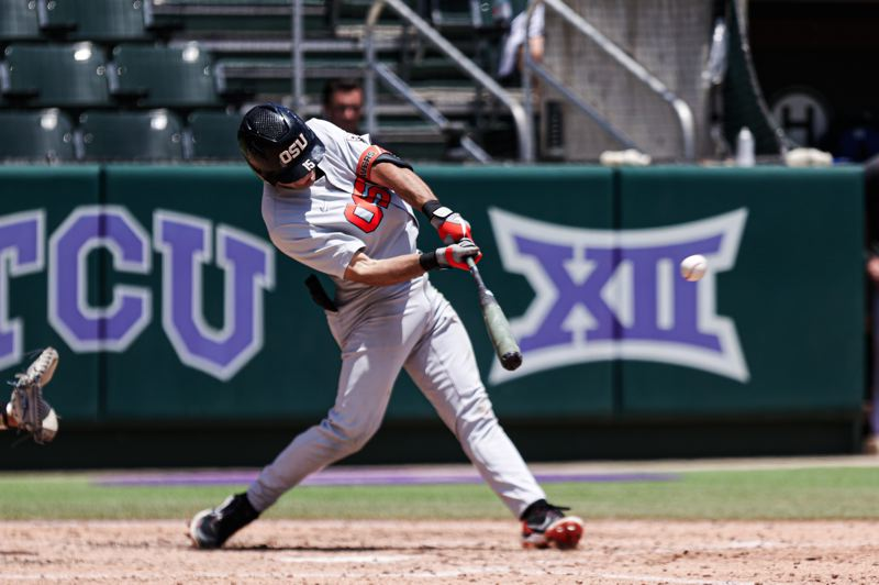COURTESY PHOTO: MARIO TERRANA/OSU ATHLETICS - Kyle Dernedde hit two three-run doubles for six RBI Saturday as Oregon State beat McNeese 10-5 to stay alive at the Fort Worth Regional.