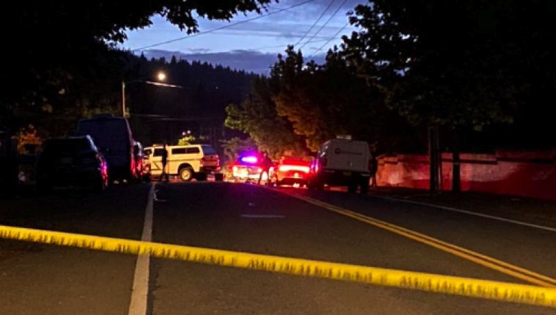 COURTESY KOIN 6 NEWS - The scene of the early Monday shooting.