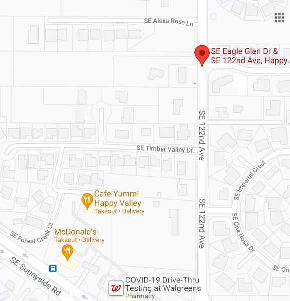 COURTESY MAP: GOOGLE - The June 7 shooting took place near Southeast 122nd Avenue and Southeast Eagle Glenn Drive in Happy Valley.